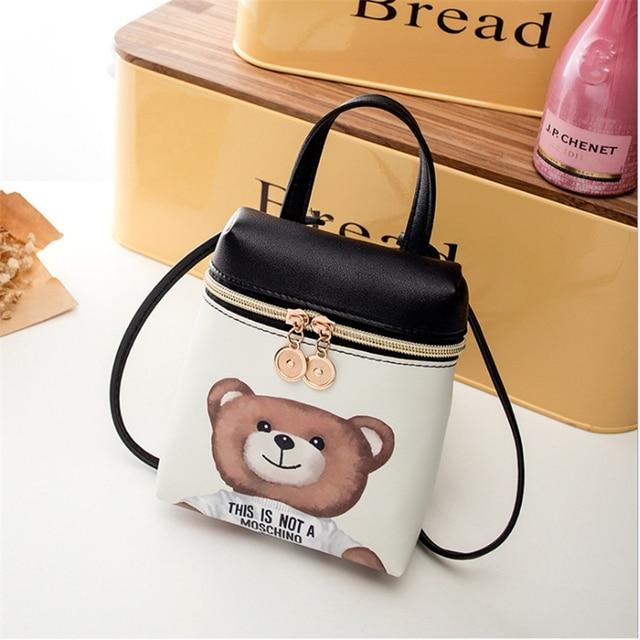 New Women s Mobile Phone Bag Cartoon Female Messenger Shoulder Bags Crossbody Cute Fashion Pu Leather Bags Mini Bear Handbags