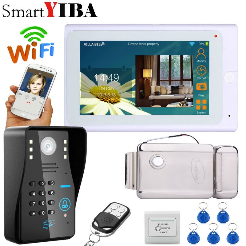 SmartYIBA 7 inch wired/Wireless wifi home Video Door phone wifi Monitor Video Door Bell Intercom doorphone System+Electric lock door wireless with monitor