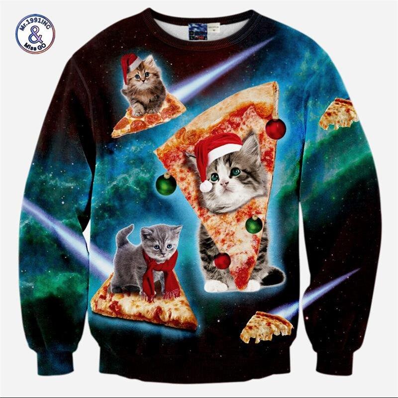 2017 Mr.1991INC&Miss.GO Men/Women Harajuku Style 3D Printing Lightning Cat Stars Night Cat Eating Pizza Hoodies Galaxy 3D Sweats
