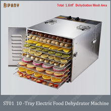 лучшая цена ST01 10-tray electric food dehydrator machine fruit vegetable meat drying machine stainless steel# 304 snack food dryer