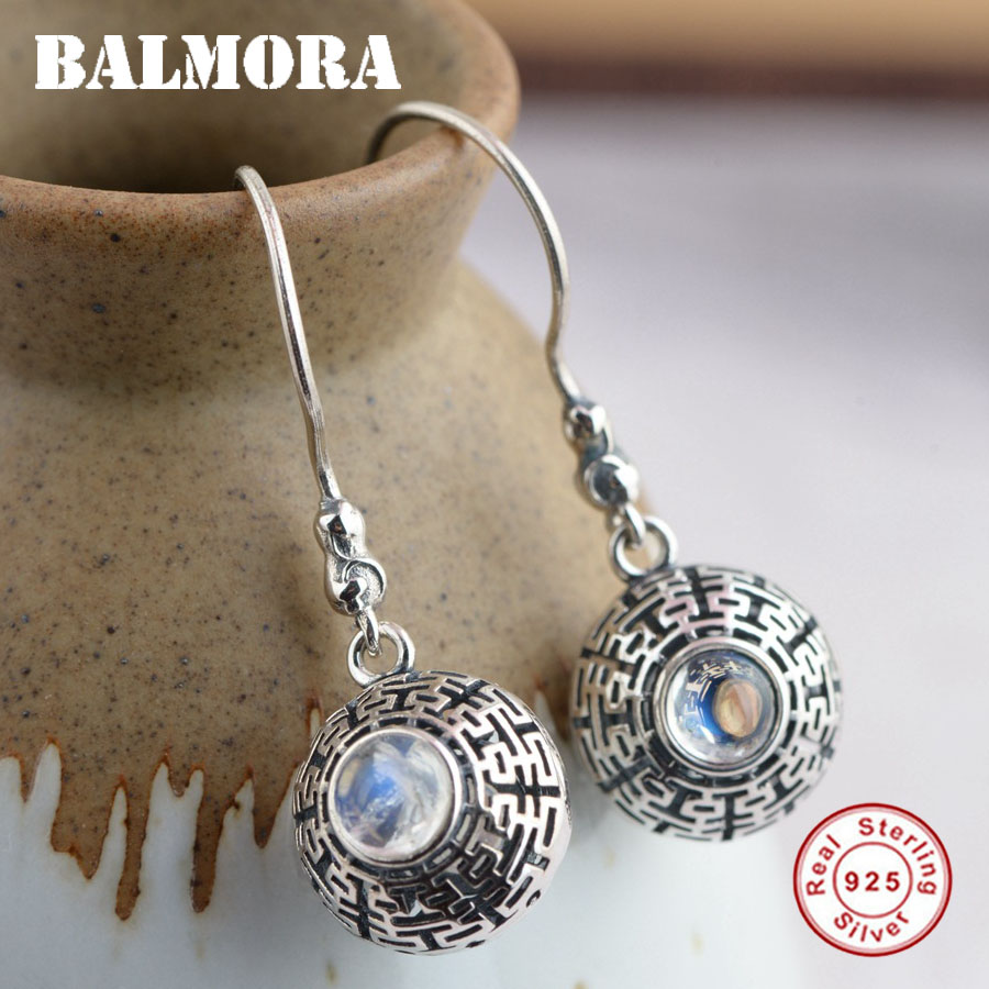 BALMORA 925 Sterling Silver Moonstone Earrings for Women Mother Gift Earrings Vintage Fashion Blessed Jewelry Brincos TRS30806