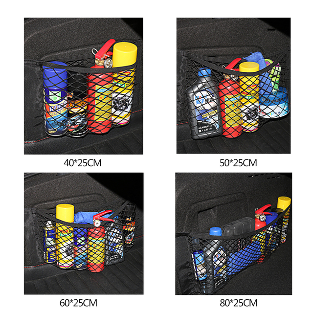Car Back Rear Trunk Seat Storage Bag Mesh Auto Organizer Double-deck Elastic String Net Magic Sticker Pocket Bag Car Organizers 5