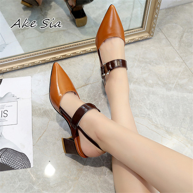 2019 spring hollow coarse sandals high-heeled shallow mouth pointed pumps shoes women Female sexy high heels large size mujer 1