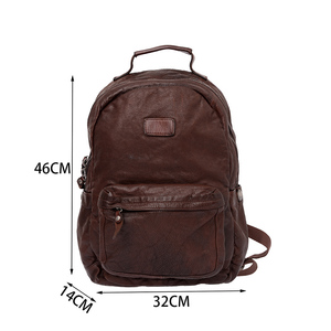 Image 5 - AETOO Cowhide mens doubles shoulder bag retro trendy head layer leather backpack