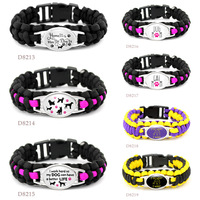 Cats Dogs Mom Outdoor Survival Paracord Charm Bracelets 25*18mm Glass Cabochon Men Women Unisex Lover's Hiking Camping Gift 2