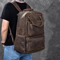 Высокое качество Для мужчин рюкзак из натуральной кожи Винтаж коровьей рюкзака Путешествия Повседневное школа книга сумки бренда мужской