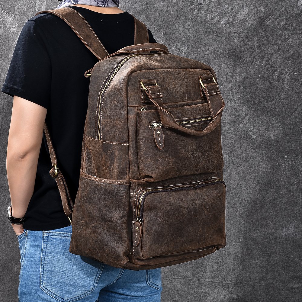 High Quality Men Backpack Genuine Leather Vintage Cowhide Daypack Travel Casual School Book Bags Brand Male Laptop Bags Rucksack new 2016 brand high quality leather backpack men casual laptop backpacks college style school book bags mochila rucksack 112zs