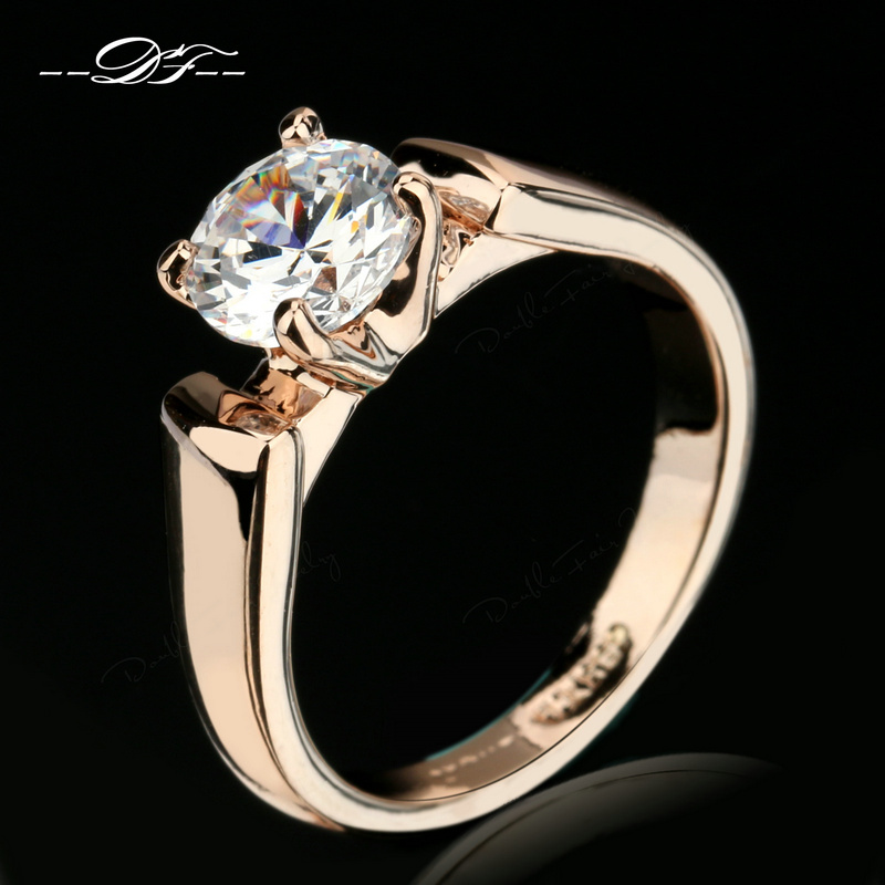 Double Fair 1 25 Carat Round Cut Cubic Zircon Engagement Rings Silver Rose Gold Color Wedding