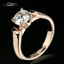 Double Fair 1.25 Carat Round Cut Cubic Zircon Engagement Rings Silver/Rose Gold Color Wedding Jewelry For Men/Women Anel DFR054