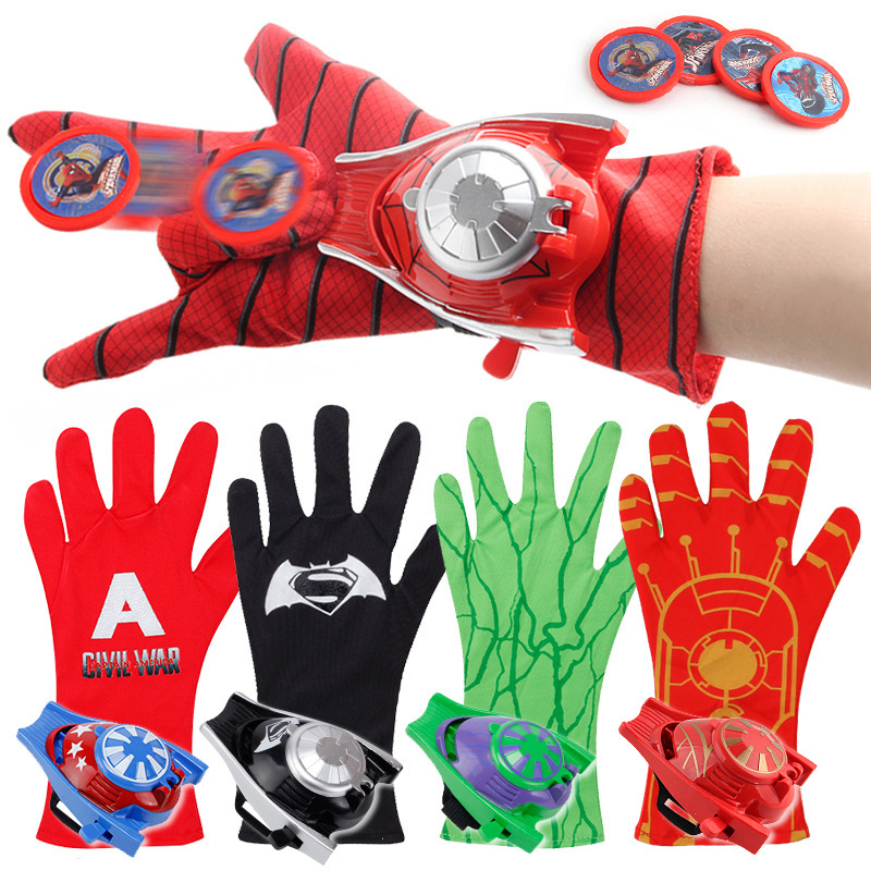 QWOK Super Heroes Spider Glove Launcher For Kids Cosplay Props Gloves Laucher Spider Web Toys For Boys Girls