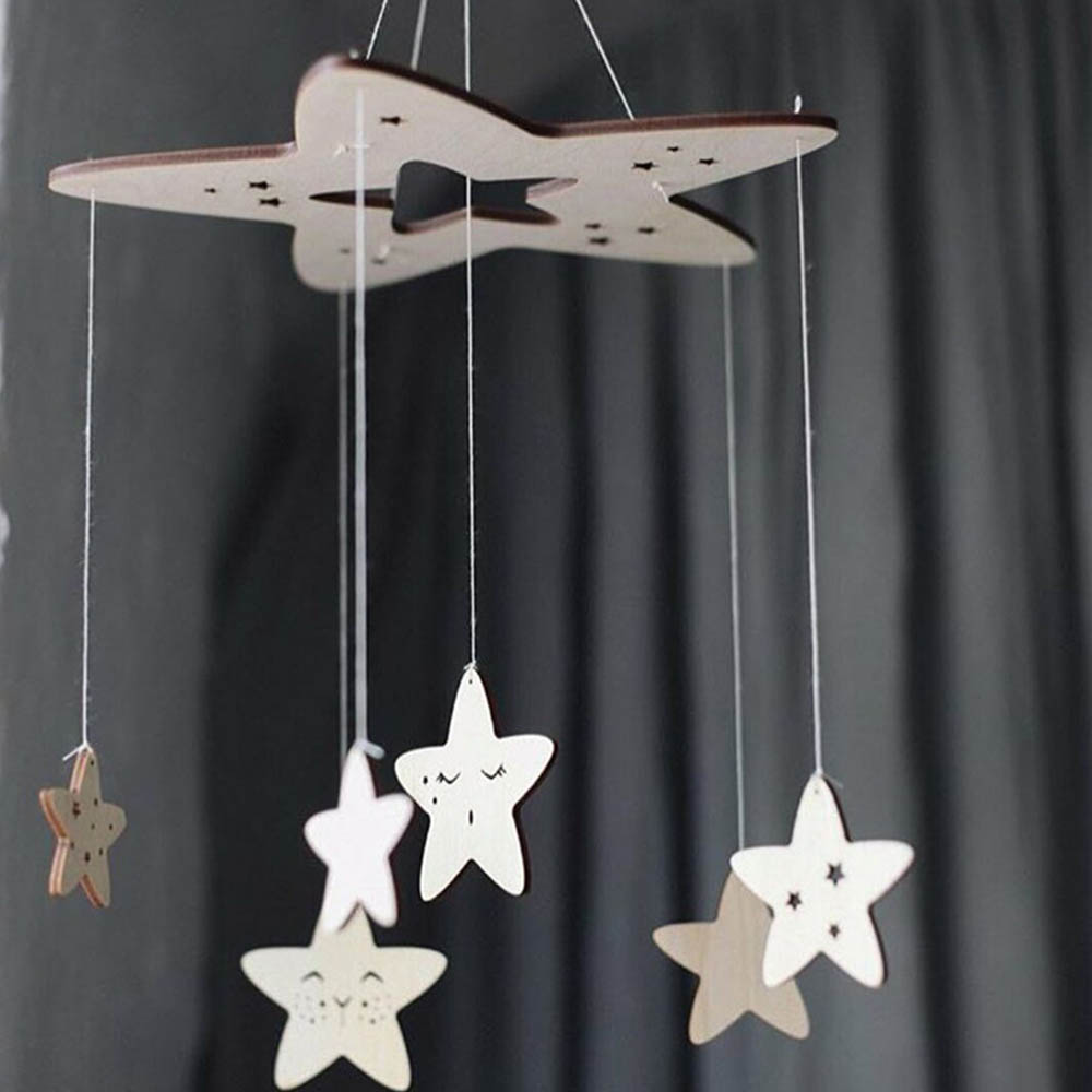 Baby Crib Rattles Baby Hanging Mobile Wooden Rattle DIY Wind Chimes Stars Bell Toys For Kids Bedrooms Lovely Decorations 60*23cm