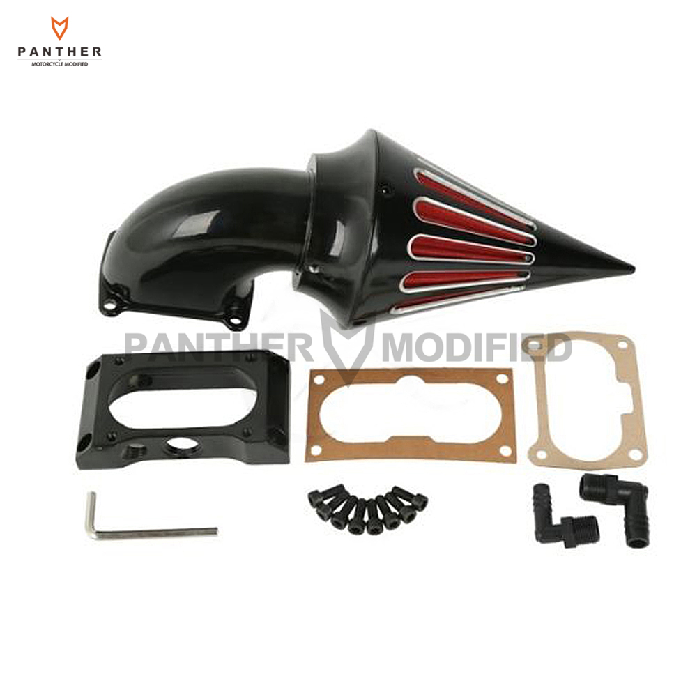 Black Edge Cut Motorcycle Spike Air Cleaner Kits Intake Filter case for Kawasaki Vulcan VN 2000 2000LT Classic 2004-2010