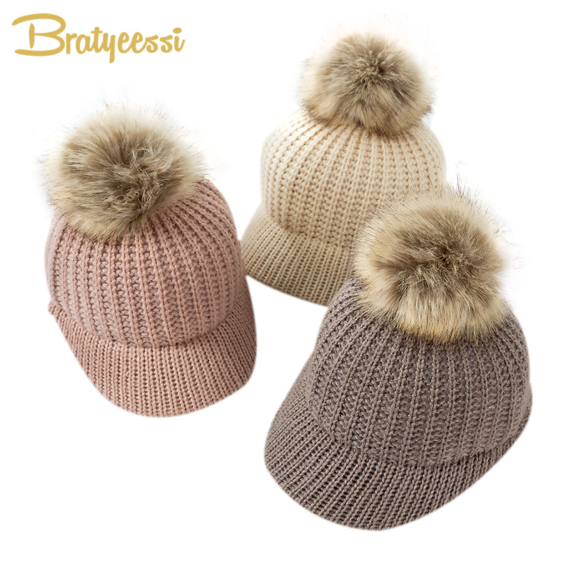 Fashion Knitted Baby Hat Pompom Winter Cap for Kids Adjustable Solid Baby Winter Hat Accessories Children Cap for 2-5 Years 1PC rabbit fur hat fashion thick knitted winter hats for women outdoor casual warm cap men wool skullies beanies