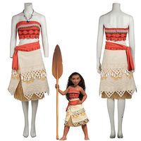 Movie Moana Princess Dress Cosplay Costume Women Skirt Christmas Party Dress