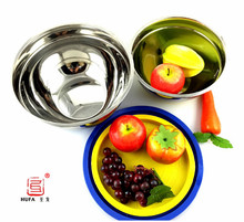 2017 Hot Sale Stainless Steel Grip Bowls with  colorful silicone bottom/mixing bowls/salad tools/high quality/2&3 quater