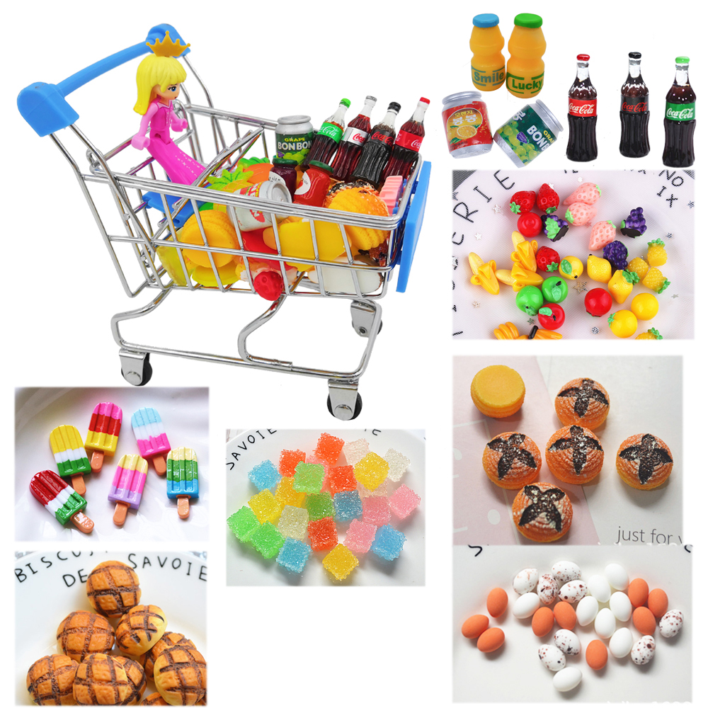 Supermarket Hand Trolley Mini Shopping Cart  Storage +Simulation FoodPlay Goods Toy Gift Dollhouse