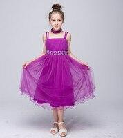 Girls Clothes 10 12 Year Children Flower Wedding Kids Girls Quality Dresses Red Orange Blue Purple Princess Prom Dress Toddler