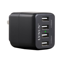 LVSUN Common 5V four.8A four Port USB Wall Charger Moveable Journey AC Adapter For iPad iPod iPhone four 4s 5 5s Cellular Telephone Pill