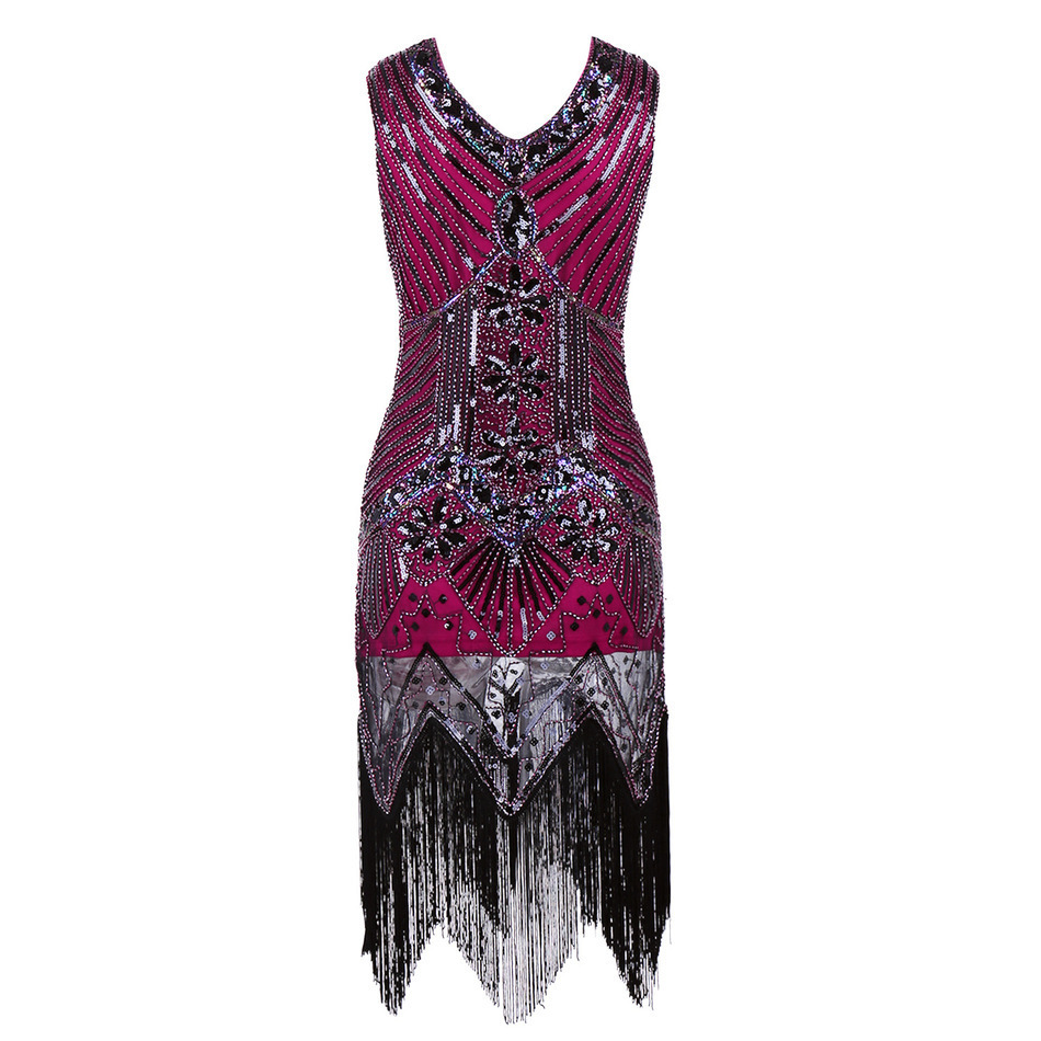 V Neck Beaded Sequin Art Deco Gatsby Inspired Flapper Dress Great ...
