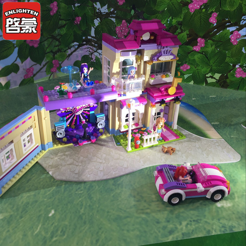 ENLIGHTEN Town Building Blocks Girls New Educational Building Blocks City Friends Beauty Center Model Blocks Toys For Children enlighten building blocks military cruiser model building blocks girls
