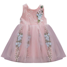 AmzBarley Girls princess dresses Lace floral tutu Dress Birthday party costume toddler girls summer sleeveless clothes все цены