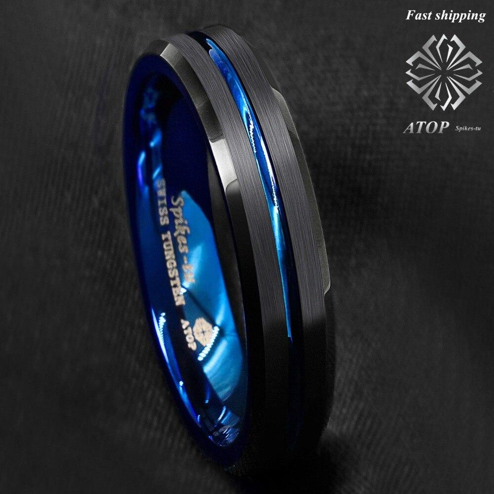8mm Tungsten Men Women Ring Thin Blue Line Inside Black Brushed Band