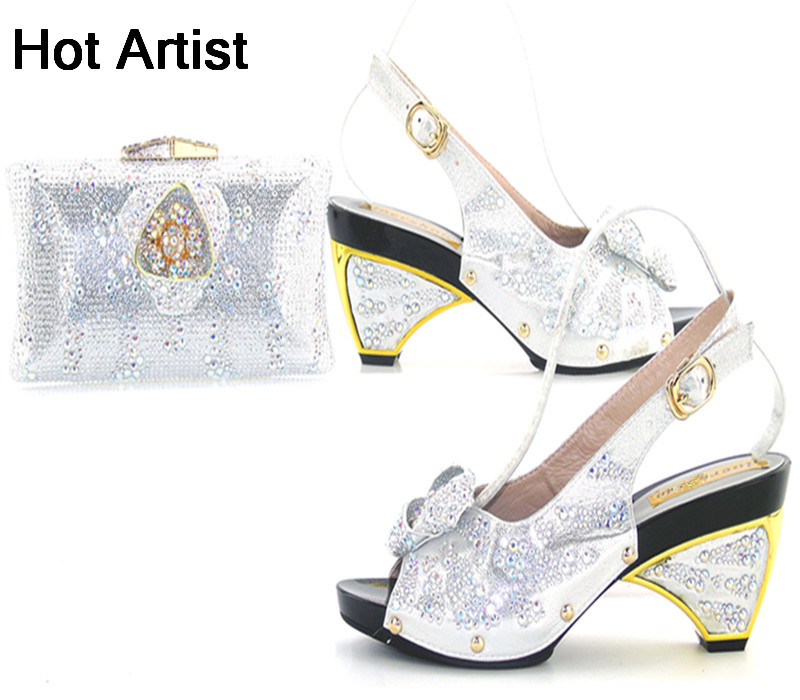 Hot Artist Free Shipping Italian Style High Heel Shoes And Bag Set For Party Italian Rhinestone Orange Shoes And Bags TYS17-90