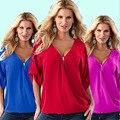 1 PC Profundo Decote Em V Mulheres Blusas Blusas de Chiffon Blusa Blusa Feminino Mulheres Sexy Tops Plus Size 13 Cores 8 tamanhos ZZ3497