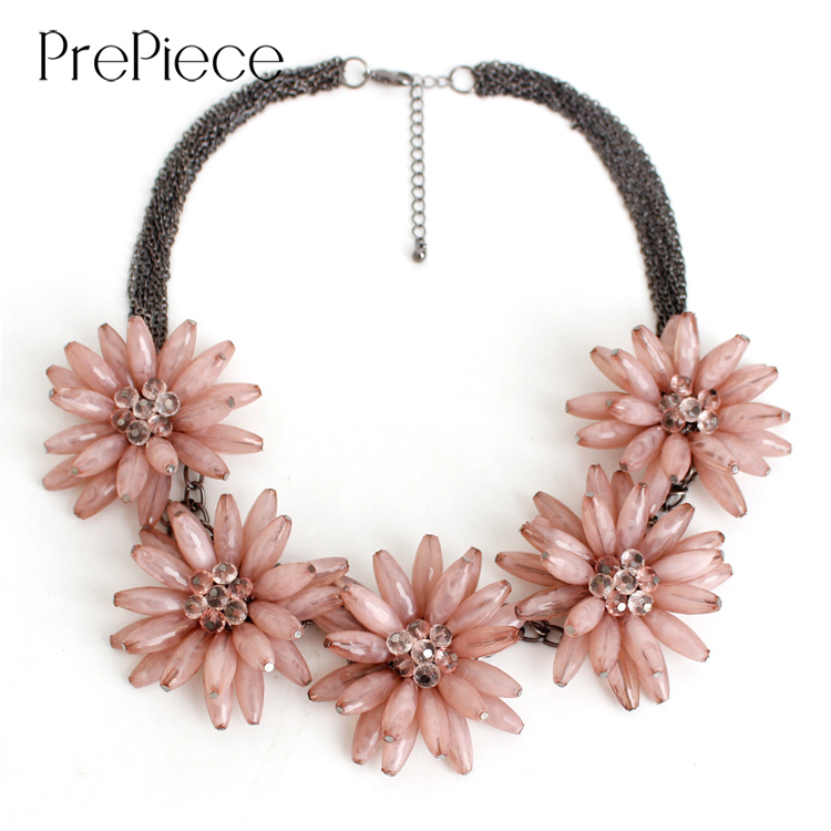 PrePiece Elegant Pink Blue Red Color Multi-layer Chain 5 Flower Statement Necklace New Fashion Jewelry for Women Bijoux PN0364 waterproof moisturized 4 color comestic lipstick deep pink red multi color 5 2g
