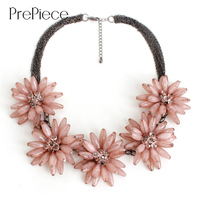 PrePiece Elegant Pink Blue Red Color Multi Layer Chain 5 Flower Statement Necklace New Fashion Jewelry