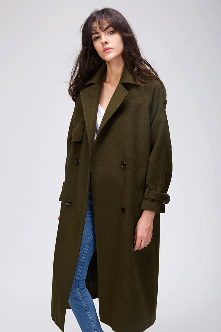 JAZZEVAR 19 Autumn winter New Women's Casual wool blend trench coat oversize Double Breasted X-Long coat with belt 860504 15