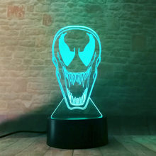 Venom Figure 3D Illusion lamp LED Desk NightLight Flashing Glow in the Dark