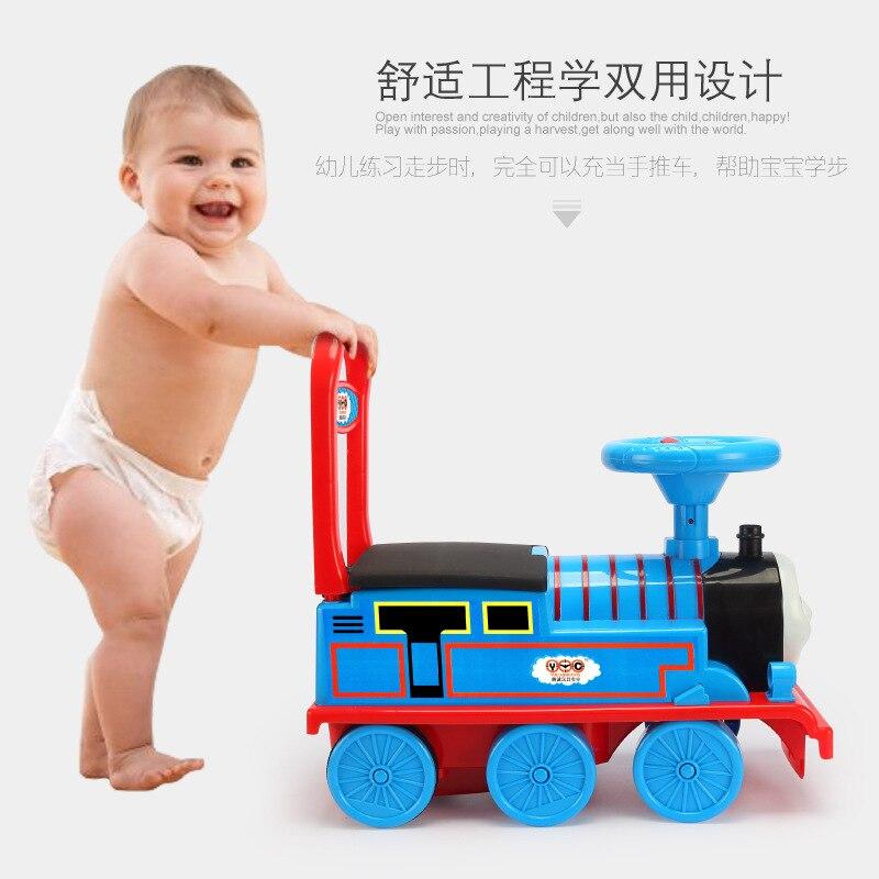 Livraison gratuite petit Train voiture électrique Rail enfant bébé marcheur peut s'asseoir poussette jouet voiture garçons jouet monter dans le Train - 5
