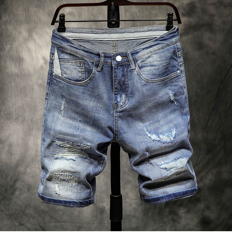 2019 Summer Men's Stretch Short Jeans Fashion Casual Slim Fit Ripped Holes High Quality Elastic Deni