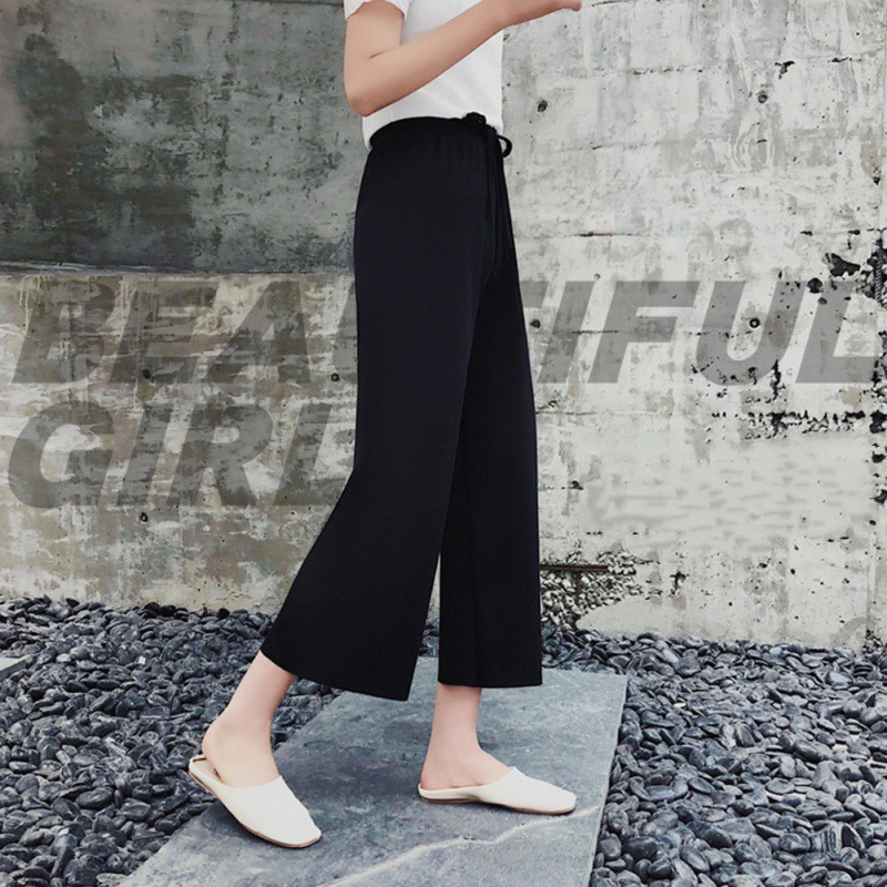 2018 Fashion Women Wide Leg Pants Ladies Elastic Waist Ankle-Length Loose Trouser