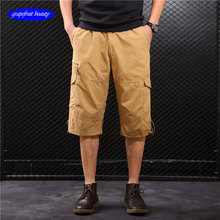 2019 Summer Male military Shorts trousers Multi Pocket Loose Zipper Breeches Khaki Grey Plus Size casual shortPants  Black loose