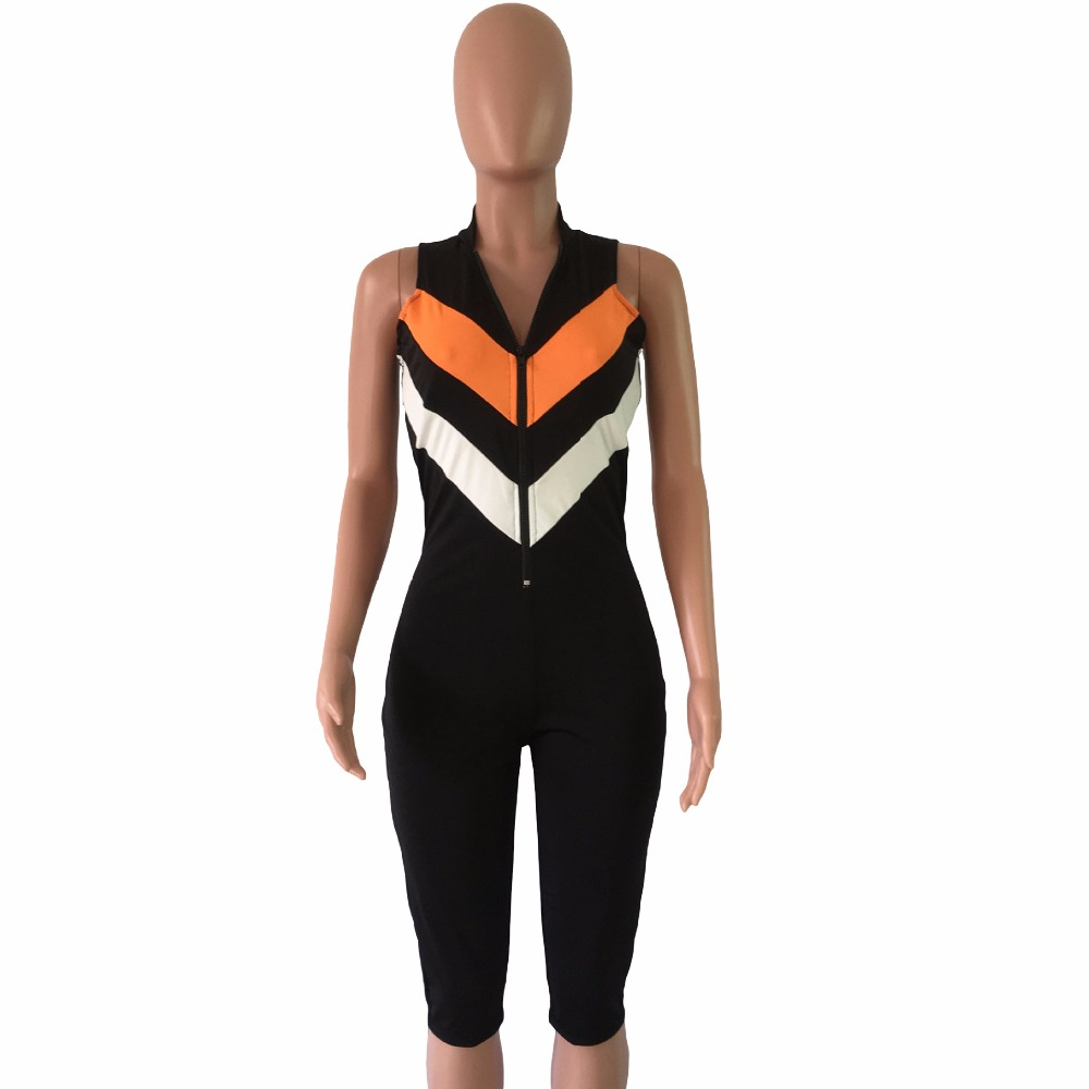 Orange White Striped Sexy Jumpsuit Women Summer Front Zipper Deep V Neck Sleeveless Romper Knee Length Slim Casual CatsuitDN8088