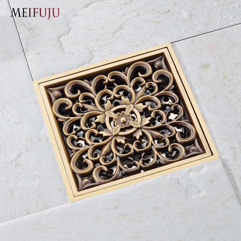 Meifuju Square Brass Shower Drain Cover Antique Bath