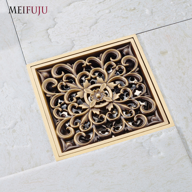 Meifuju Square Brass Shower Drain Cover Antique Bath