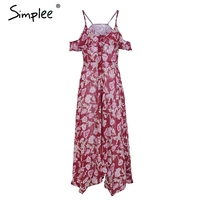 Simplee Sexy Cold Shoulder Ruffle Long Dress Women Split Floral Print Maxi Dress Elegant V Neck