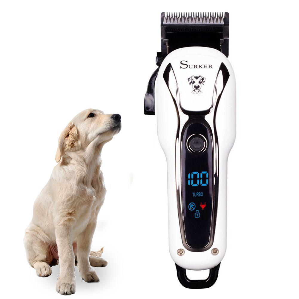 SURKER Dog grooming Dog Clippers Pet Clippers Pet Grooming Supplies Kit with Nail Clippers and Nail file for Cats and Dogs LCD 5 5l automatic pet feeder with voice message recording and lcd screen large smart dogs cats food bowl dispenser pet products