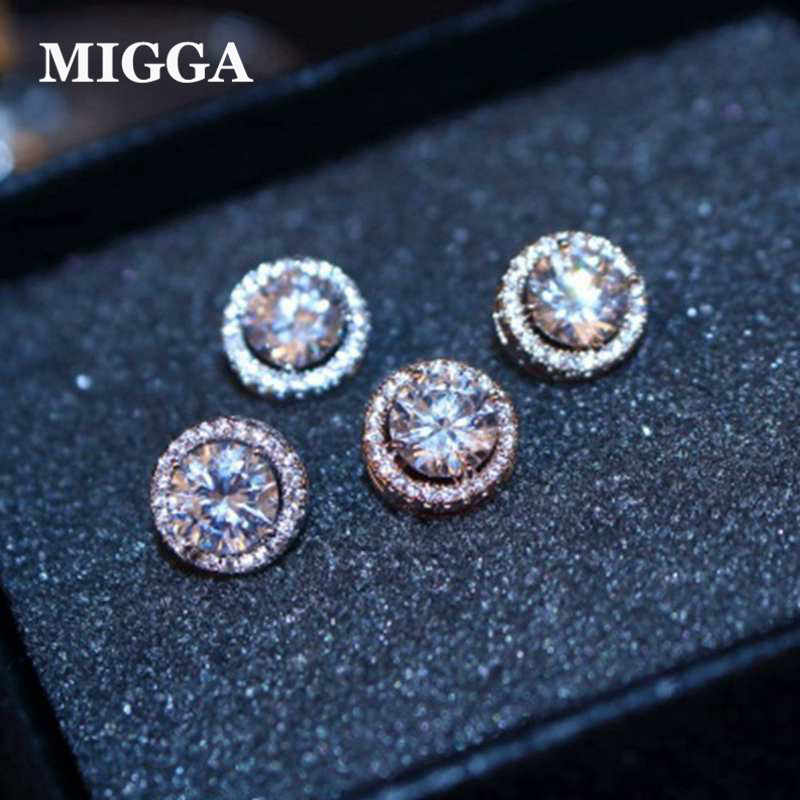 High Quality Round Cubic Zircon Earrings for Women Ladies Girls CZ Crystals Stud Earrings Gold Color Jewelry