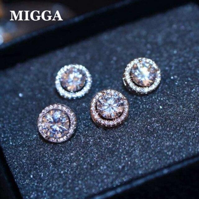 عالية الجودة جولة مكعب الزركون أقراط للنساء السيدات الفتيات تشيكوسلوفاكيا بلورات أقراط الذهب اللون مجوهرات