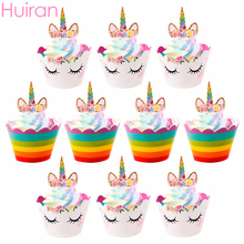 HUIRAN Rainbow Unicorn Cake Topper Rubber Bracelet Key Chain Party Decor Birthday Supplies Baby Shower