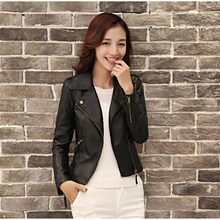 Women Pu Leather Jackets Casual Slim Soft Moto Coat Zippers Biker Faux Outwear