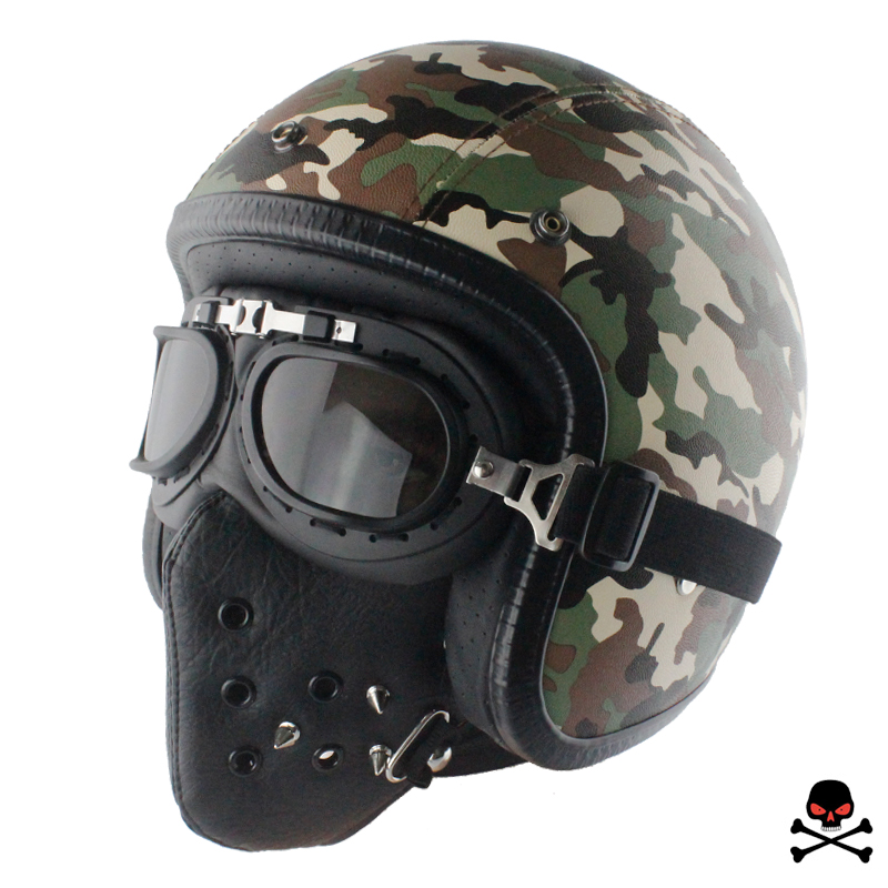 LDMET leather PU harley casco moto vintage motorcycle helmet capacetes de motociclista punk cafe racer open face camouflage ...