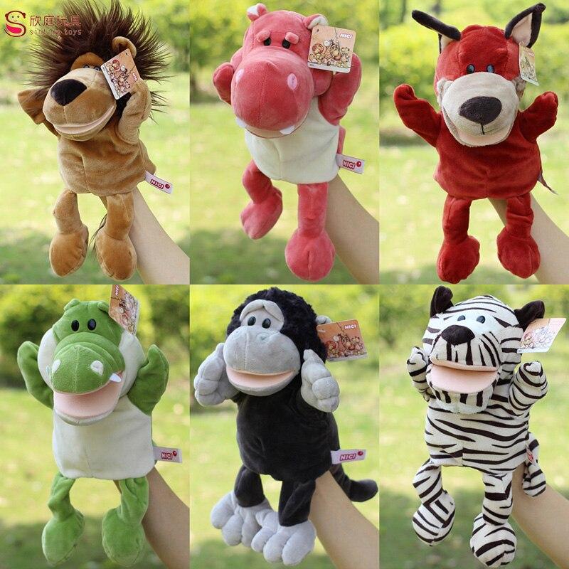 Candice guo! cute cartoon plush toy Nici hippo ladybug wolf giraffe raccoon crocodile stereo hand puppet baby telling story 1pc