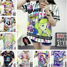 SWAG 2016 kawaii style tie dye women t shirt totoro/my little pony/unicorn/weird girl/bear print Harajuku o-neck loose t-shirts