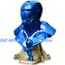 Statue Avengers IRON MAN 1:1 (LIFE SIZE) Bust MK3 Half-Length Photo Or Portrait Resin Head portrait Blue Special Edition Avatar