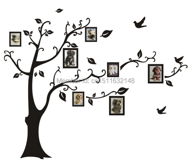 1set Large Size 90*110cm Black Color Family Tree Sticker Wall Decal